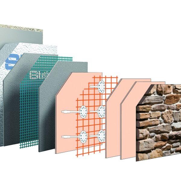 Technische tekening van de opbouw van Abitasistema (Strikotherm Isolatie in combinatie met Steenstrips van Geopietra) - duurzaam bouwen.
