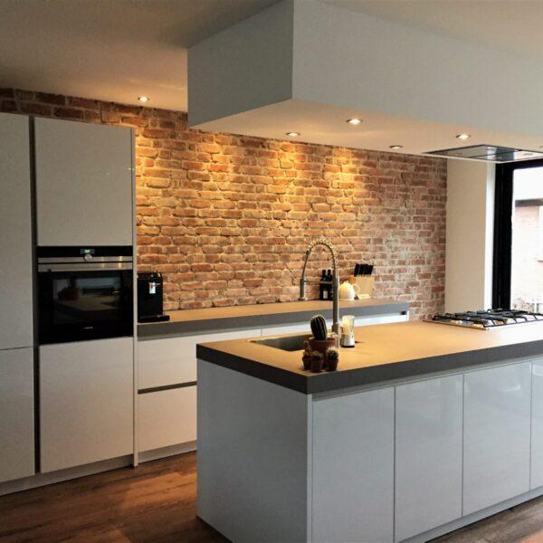 Bakstenen muur keuken.
