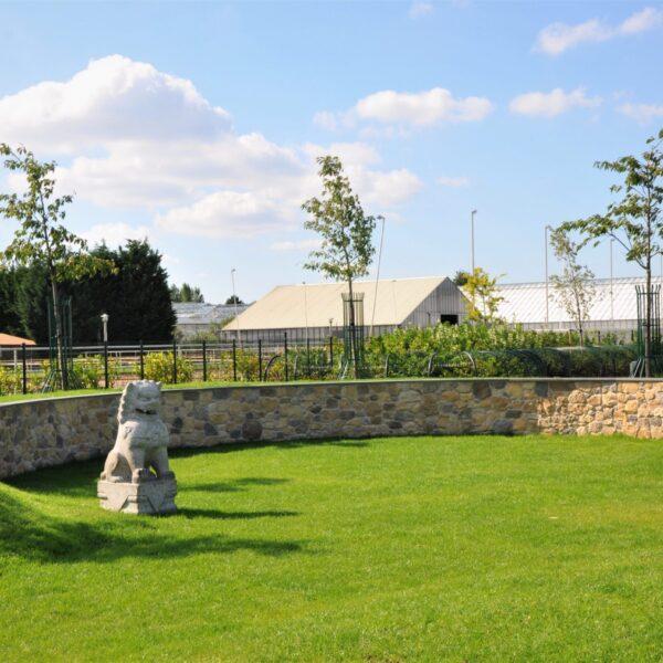 Prachtige tuin met een muur van Botticino Steenstrips
