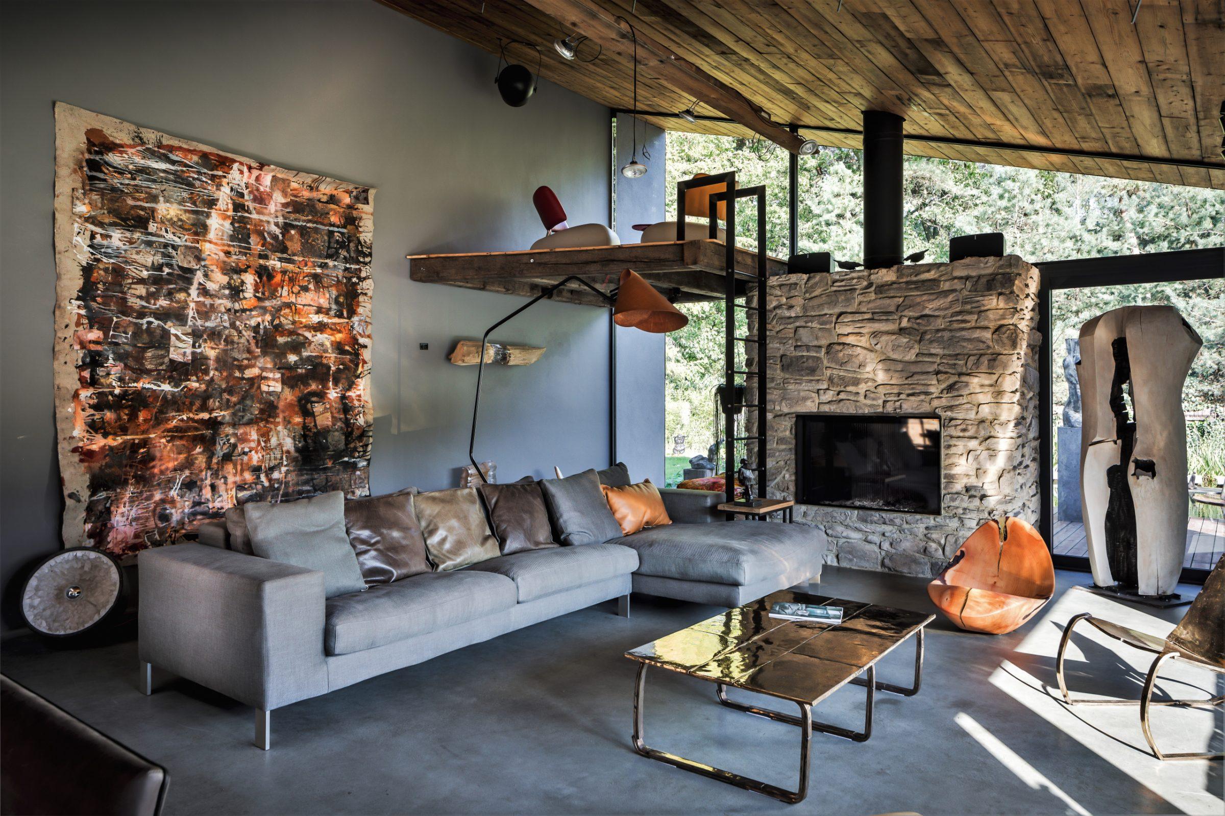 Cascata Steenstrips woonkamer. Ontwerp van Tom Kneepkens, Architect.