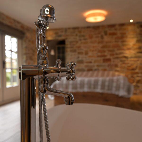 Detailfoto badkamer en Natuursteen.