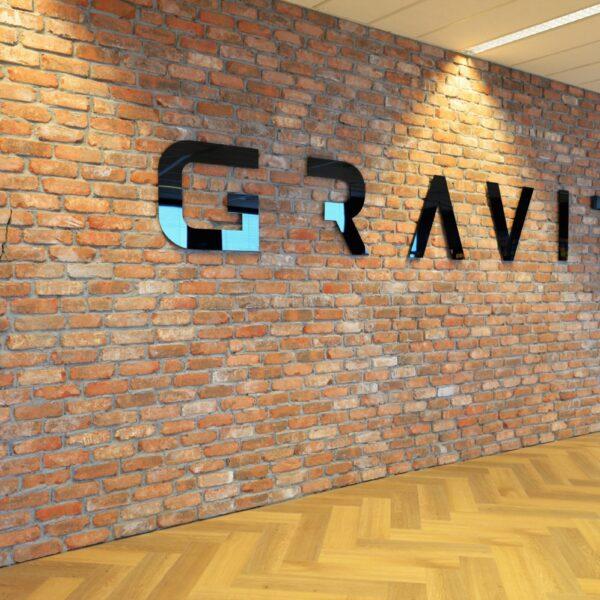 Steenstrips muur kantoor Gravity Online te Amersfoort.