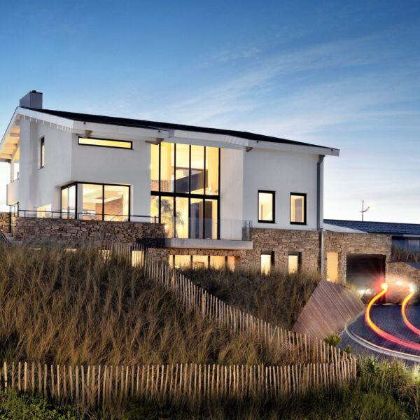 Geïsoleerde woning aan zee met Steenstrips.