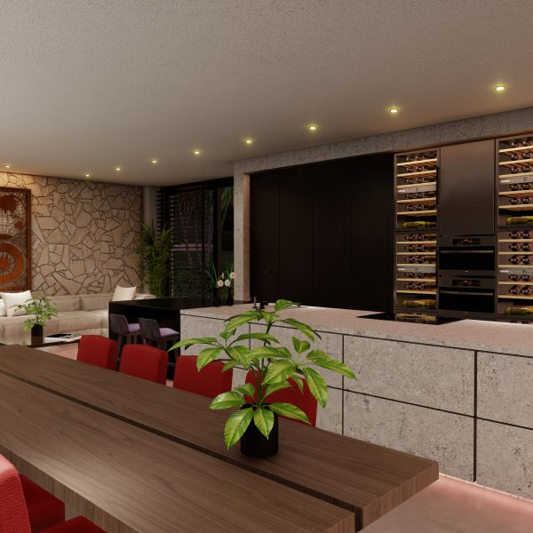 Flagstones op de wand van een moderne woonkamer - buitenlands