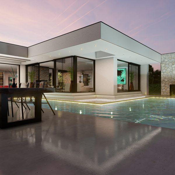 Buitenmuur van het zwembad bij moderne kubistische villa, Ontwerp van Paul Ramakers