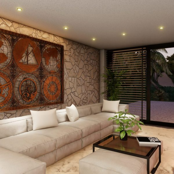 Flagstones in het moderne interieur van binnen naar buiten (terras)