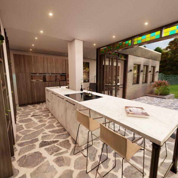 Prachtige uitbouw met Flagstones | Visualisatie Paul Ramakers