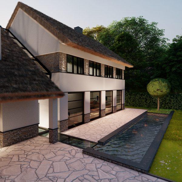 Moderne villa met rietenkap | Visualisatie Paul Ramakers
