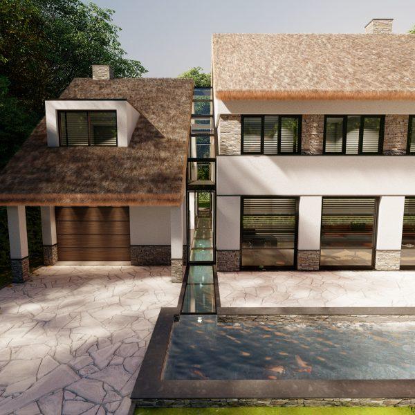 Villa met Flagstones en Steenstrips | Visualisatie Paul Ramakers